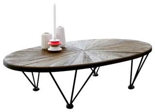 Table basse en m tal et bois d 39 orme 140x80 lancelot - Table basse ronde ou ovale ...