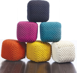 Tonia Cross Knitted Pouf Contemporary Floor Pillows