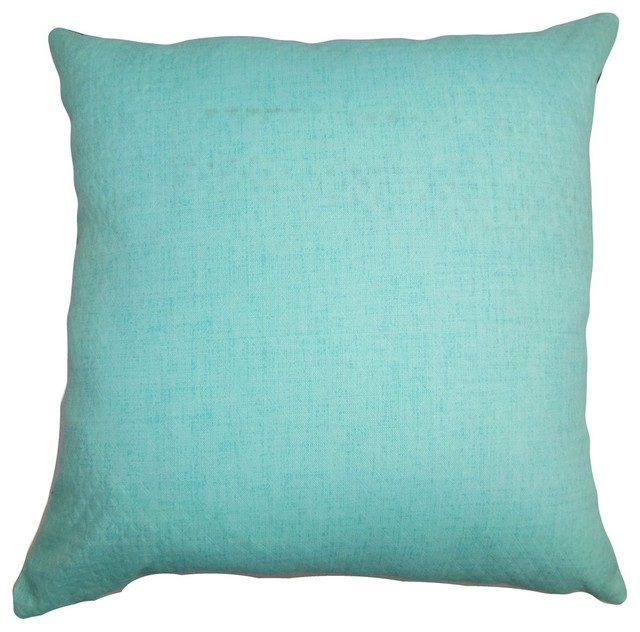 Beach Style Decorative Pillows : Haloke Solid Pillow Turquoise 18