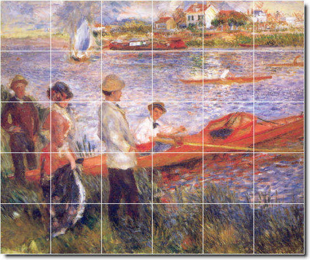 Auguste renoir waterfront painting ceramic tile mural 99 for Ceramic mural painting