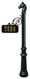 Scroll Mount Address Post With Decorative Fluted Base, Horsehead Finial
