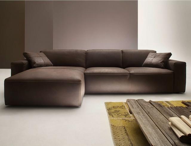 wilna sofa mit longchair links in leder modern sofas. Black Bedroom Furniture Sets. Home Design Ideas