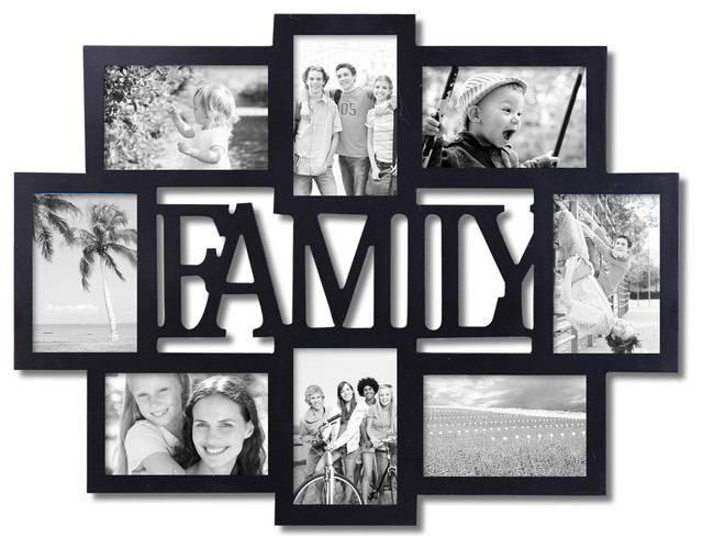 Adeco 8 photo Black Wood Family Picture Frame