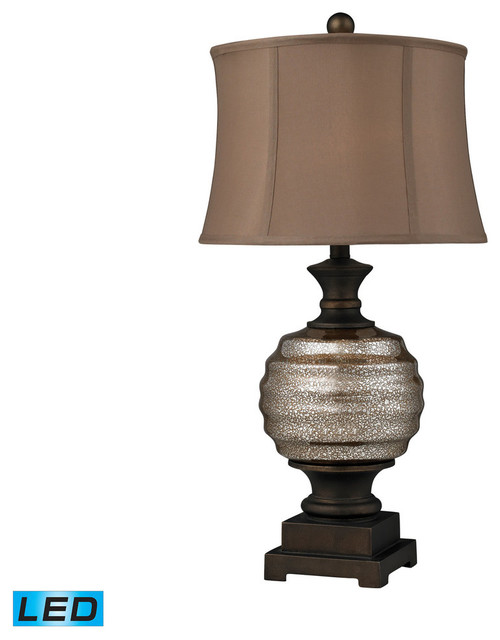 mercury glass led table lamp in bronze transitional table lamps. Black Bedroom Furniture Sets. Home Design Ideas