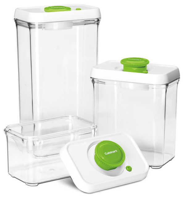 6-Piece Fresh Edge Vacuum-Seal Food Storage Container Set, Green/White - Contemporary - Food ...