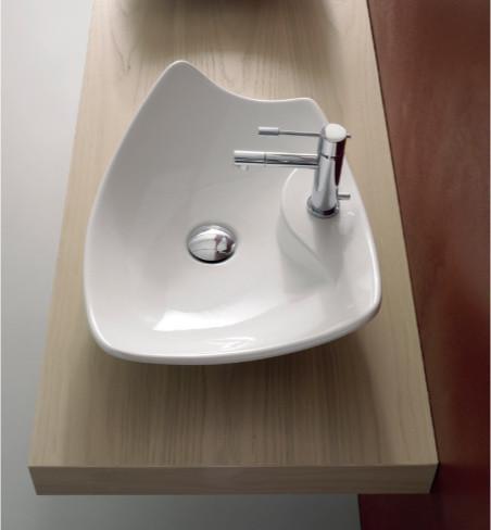 Unique Contemporary Rectangular White Ceramic Vessel Sink