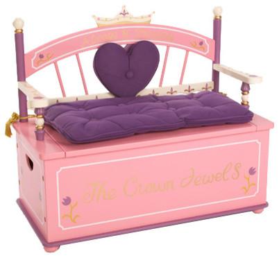 princess toy box bench moderne banc de rangement et coffre jouets par rosenberry rooms. Black Bedroom Furniture Sets. Home Design Ideas