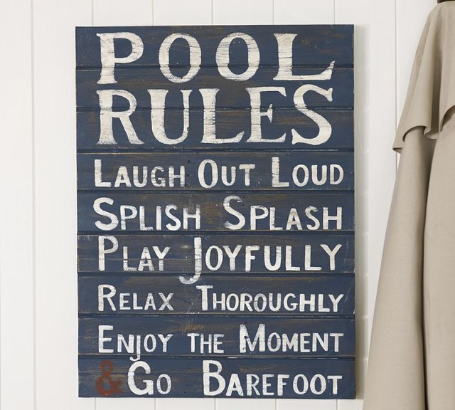 Pool Rules Sign Traditional Artwork By Pottery Barn
