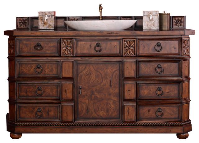 "Regent 60"" Single Vanity Cabinet, English Burl, No Top ..."