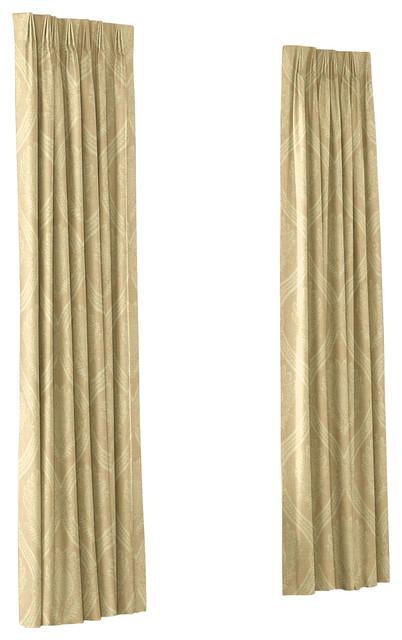 ivory medallion trellis custom euro pleat drape single. Black Bedroom Furniture Sets. Home Design Ideas