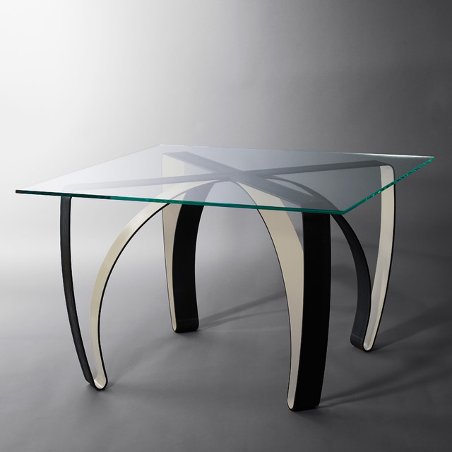 Table manger verre et acier contemporary dining - Table a manger verre ...