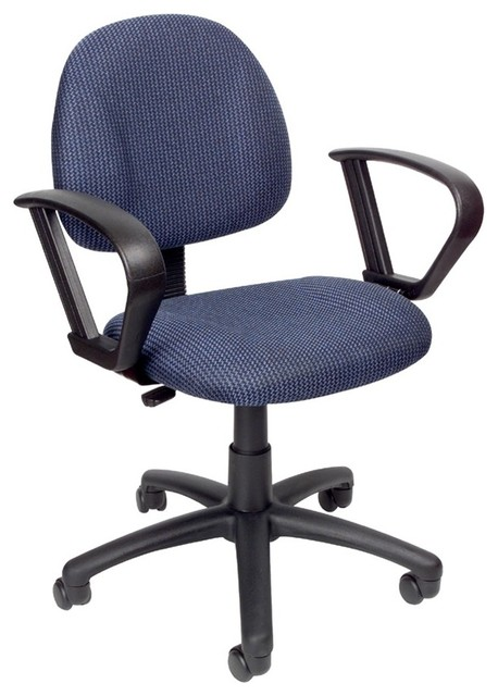 Desk chair in blue fabric with loop arms casters contemporary office