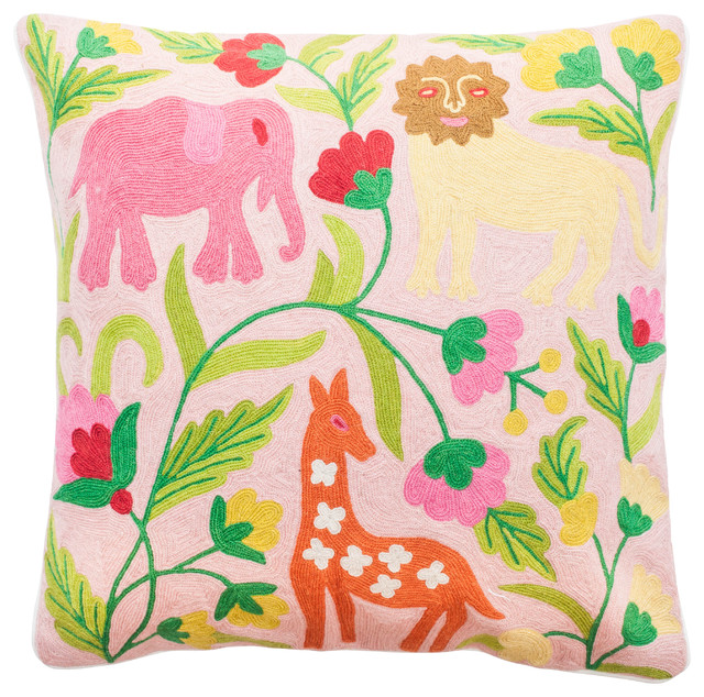 Contemporary Crewel Pillow : Crewel Embroidery Pillow with Pastel Jungle Design - Contemporary - Decorative Pillows - by ...