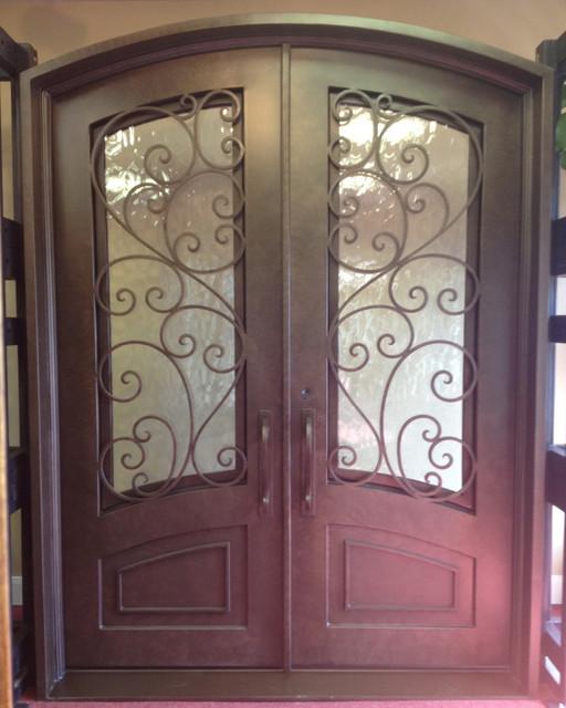 Mediterranean Style Front Doors: Granada Arch Top Wrought Iron Double Door