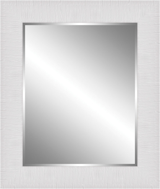 High Gloss White Ribbed Wood Framed Beveled Plate Glass Mirror, 5 ...