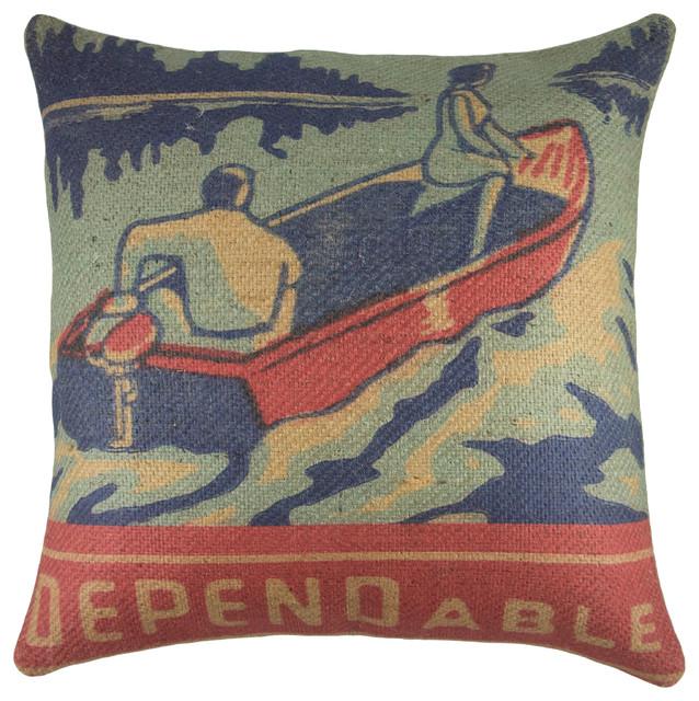 Lake Life Burlap Pillow Dependable Rustic