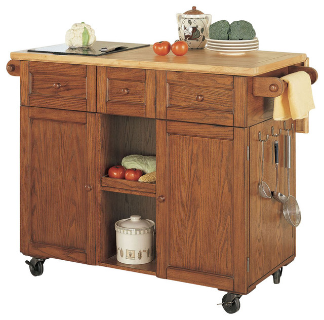 Powell Medium Oak 3 Drawer Kitchen Butler Traditional Kitchen Islands And
