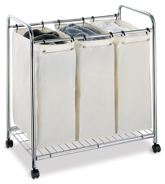 3 Section Laundry Sorter Contemporary Hampers