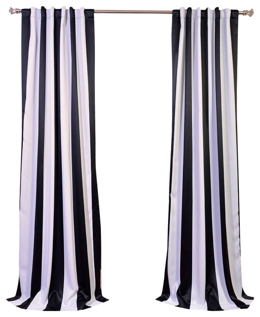 Awning Black White Stripe Blackout Curtain Single Panel Contemporary Curtains By Half