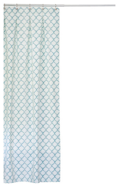 Extra Long Cotton Fabric Shower Curtain Turquoise 72x85 Modern Shower Curtains By Emily