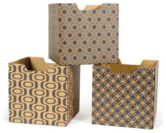 ... Decorative Storage Boxes, 3-Pack contemporary-storage-bins-and-boxes