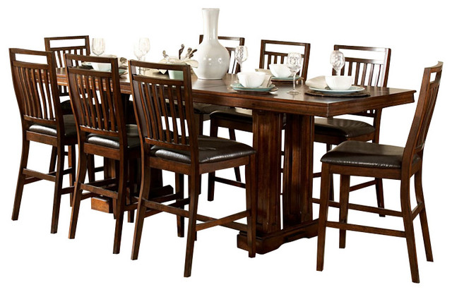Homelegance everett 10 piece trestle counter height table for 10 piece kitchen table set