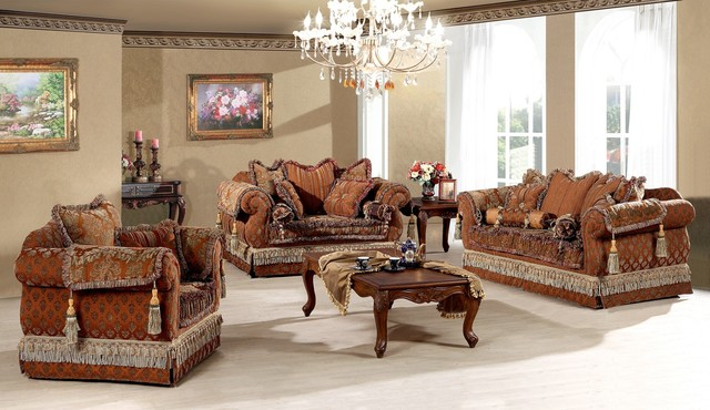 Genevieve luxury living room sofa set traditional for Traditional living room sets
