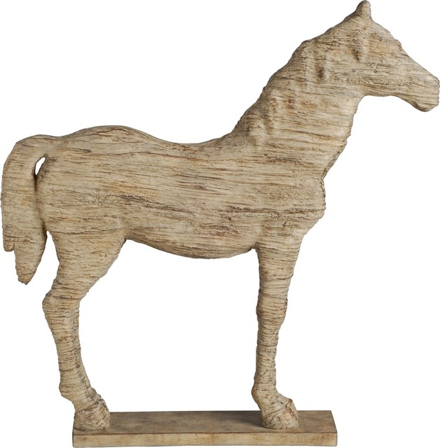 wood look horse sculpture traditional decorative objects and figurines by fantastic decor llc. Black Bedroom Furniture Sets. Home Design Ideas