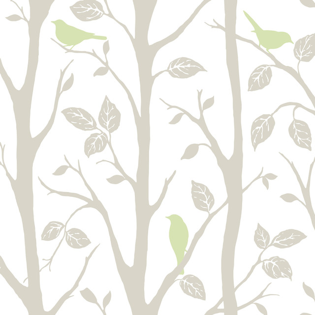 Trees And Birds Peel And Stick Wallpaper 4 Rolls