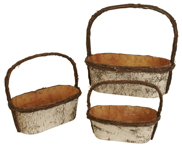 Wald Imports Faux Leather Tray Contemporary Baskets By Wald