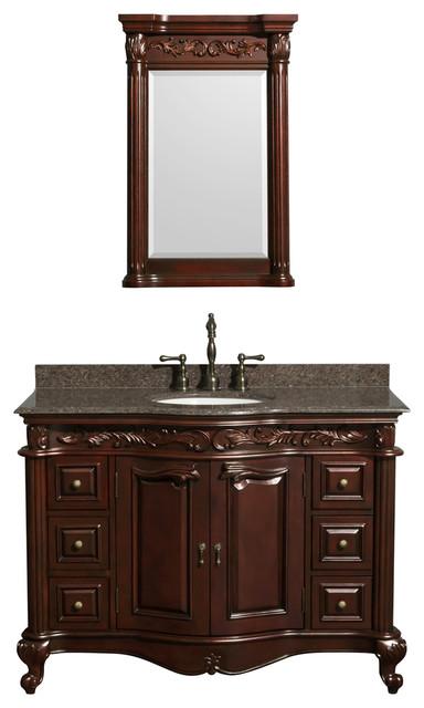 edinburgh 48 single vanity cherry brown granite top