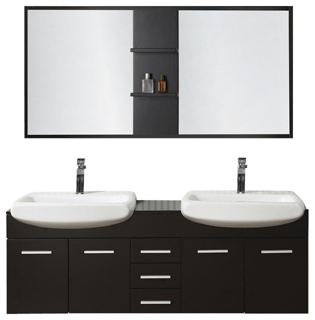 60 Espresso Wallmount Vanity Set With Vessel Sinks Modern Bathroom