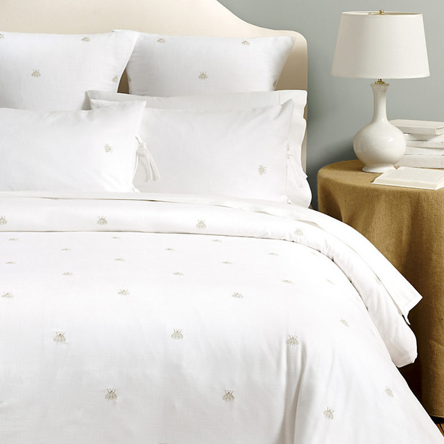 Abby Embroidered Bee Duvet Natural Queen Contemporary