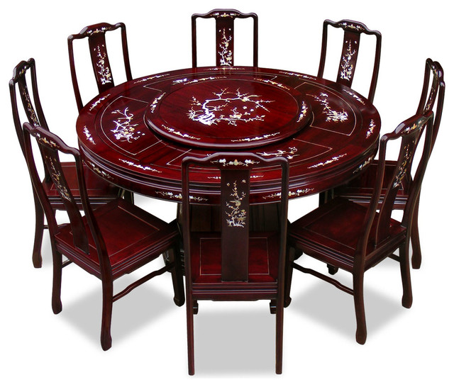 60 rosewood pearl inlay design round dining table with 8 for Oriental dining table