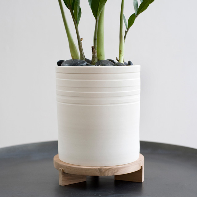 Striped planter tripod stand modern indoor pots and planters