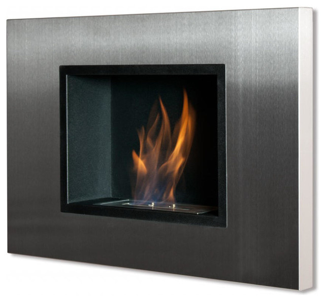 Quadra Recessed Wall Mounted Ventless Ethanol Fireplace