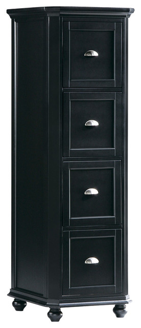Homelegance Hanna 4-Drawer File Cabinet in Black - Traditional - Filing Cabinets - by Beyond Stores