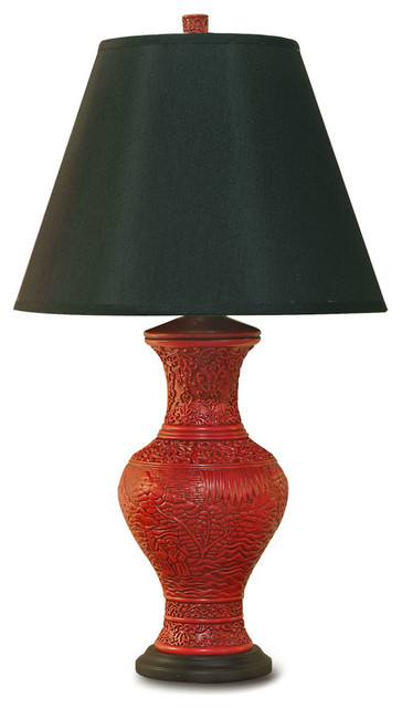 Red cinnabar vase lamp asian table lamps by china for Asian furniture westmont il