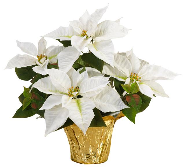 Table Top Silk Poinsettia Plant White Contemporary Artificial Flower Arrangements By Petals