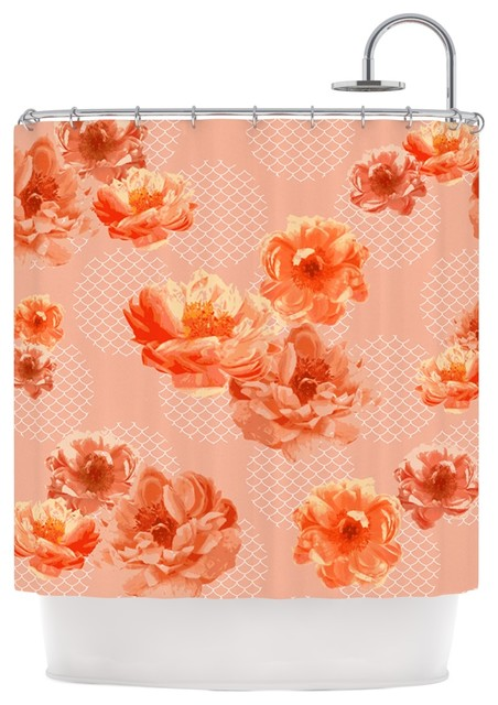 Pellerina Design Lace Peony Orange Floral Shower Curtain Contem
