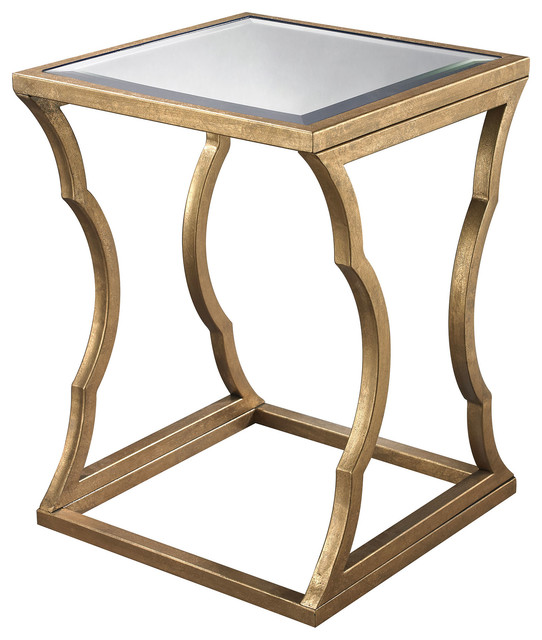 Madox Modern Classic Antique Gold Leaf Glass Coffee Table: Metal Cloud Side Table, Antique Gold Leaf