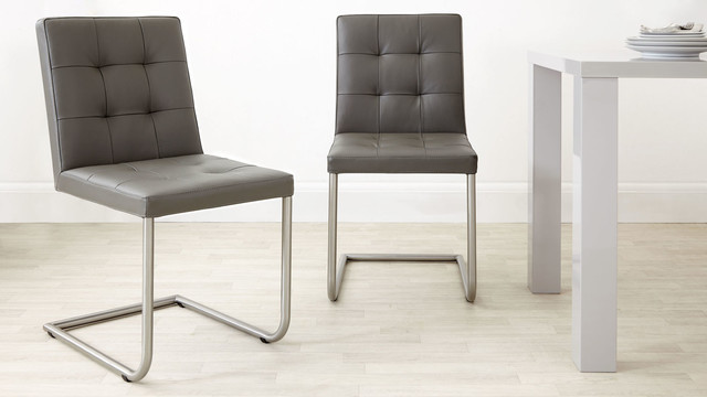 charcoal grey danni real leather dining chair dining chairs south