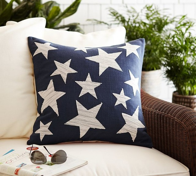 Pottery Barn Decorative Pillow Covers : Stars Embroidered Pillow Cover - Contemporary - Decorative Pillows - sacramento - by Pottery Barn