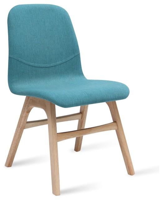 Ava Emerald Fabric Oak Dining Chair Modern Dining Chairs