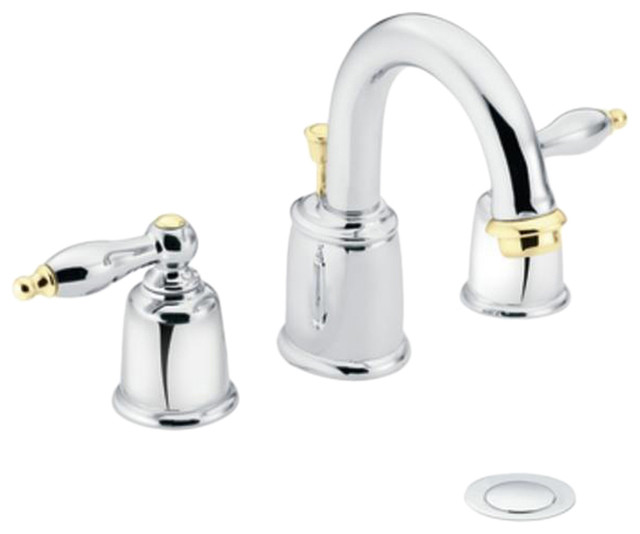 Moen Polished Brass Bathroom Faucets: Moen T4985CP Castleby Chrome/Polished Brass Two-Handle