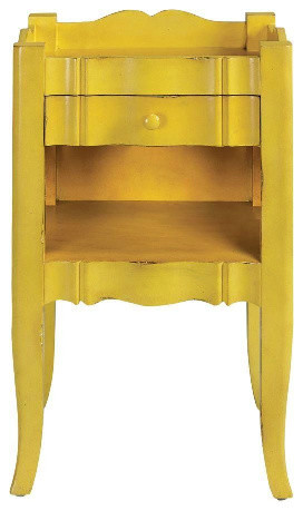 Emily Antique Yellow Side Table Traditional