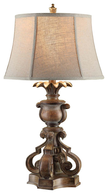 capital distressed wood finish resin table lamp 32 1 4 inches tall table lamps by zeckos. Black Bedroom Furniture Sets. Home Design Ideas