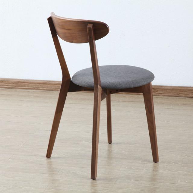 henrik solid walnut dining chair light grey fabric seat