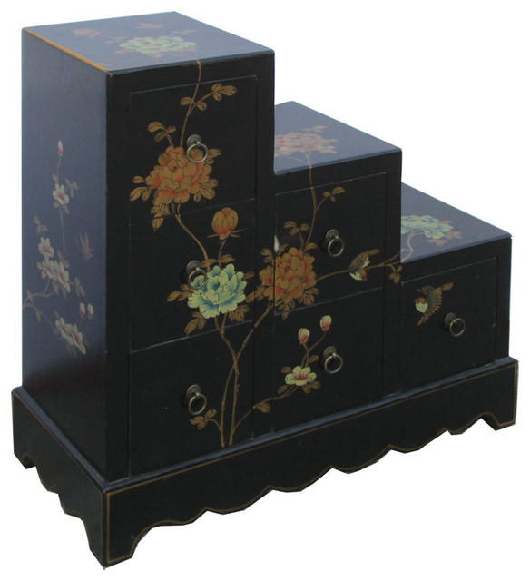 Black Leather Flower Bird Hand Paint Japanese Step Tansu Cabinet - Asian - Accent Chests And ...