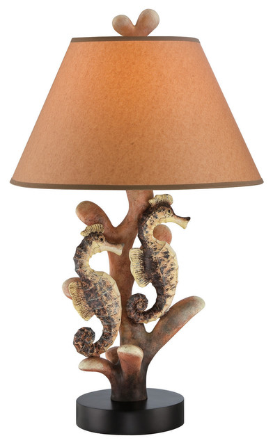 table lamp reef seahourse tan kraft shade e27 cfl 23w. Black Bedroom Furniture Sets. Home Design Ideas